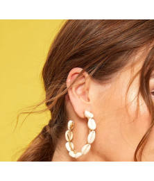 Shell Decor Cut Hoop Earrings